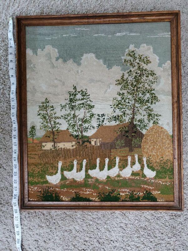 VTG NEEDLEPOINT Guske Hungarian Farm Scene Geese