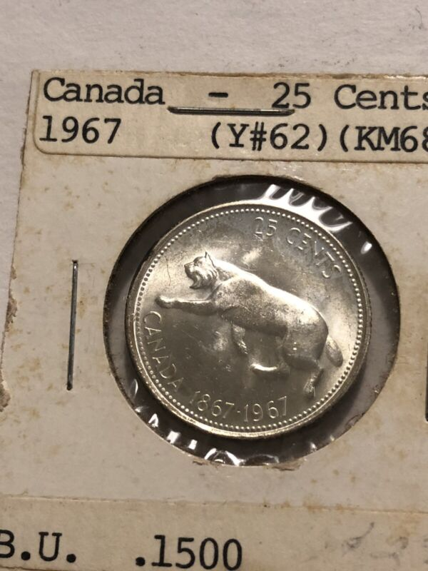 1967 Canada Silver Quarter 25C Cents. BU #162