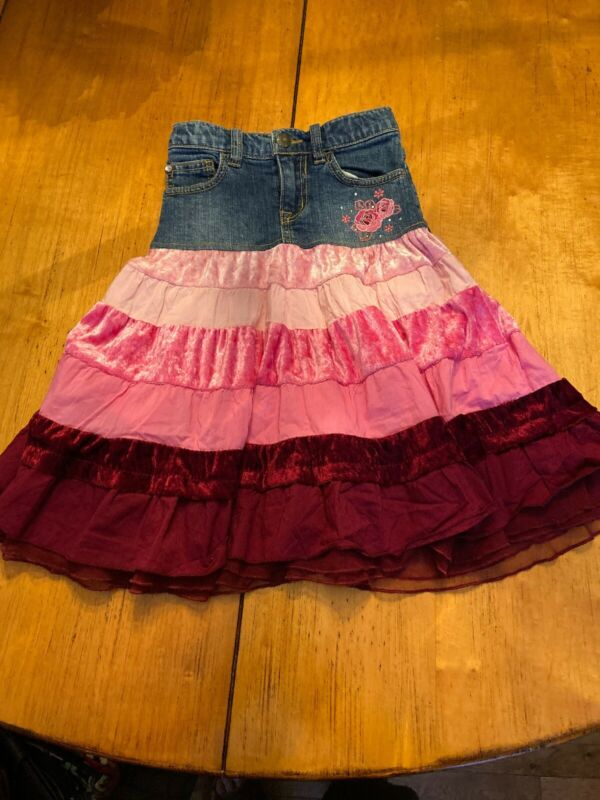 The Childrens Place Extra Long Denim Jean Skirt Sz 5 Tiered Pink