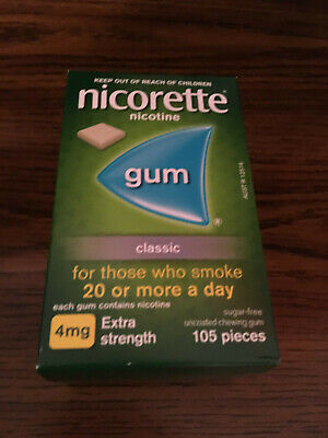 Nicorette 4mg Classic 1 box 105 pieces Nicotine Quit Smoking Gum Exp 4/2021 New Quit Smoking Gum