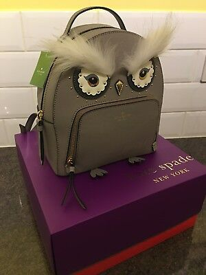 BNWT Kate Spade Star Bright grey cityscape leather Owl Tomi Backpack WKRU5674