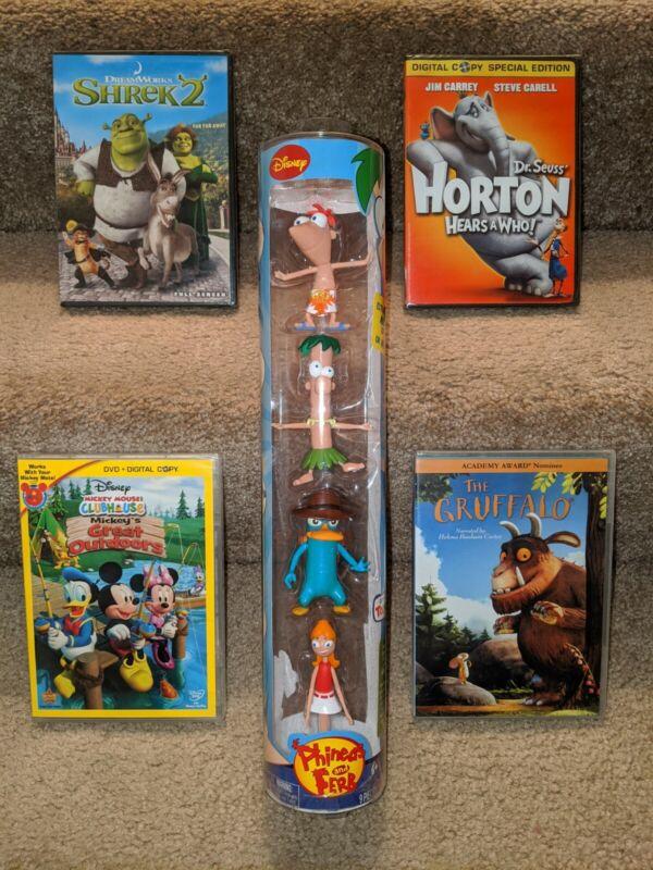 Dreamworks, Disney, etc. Phineas & Ferb (4 pk) plus 4 brand new DVD
