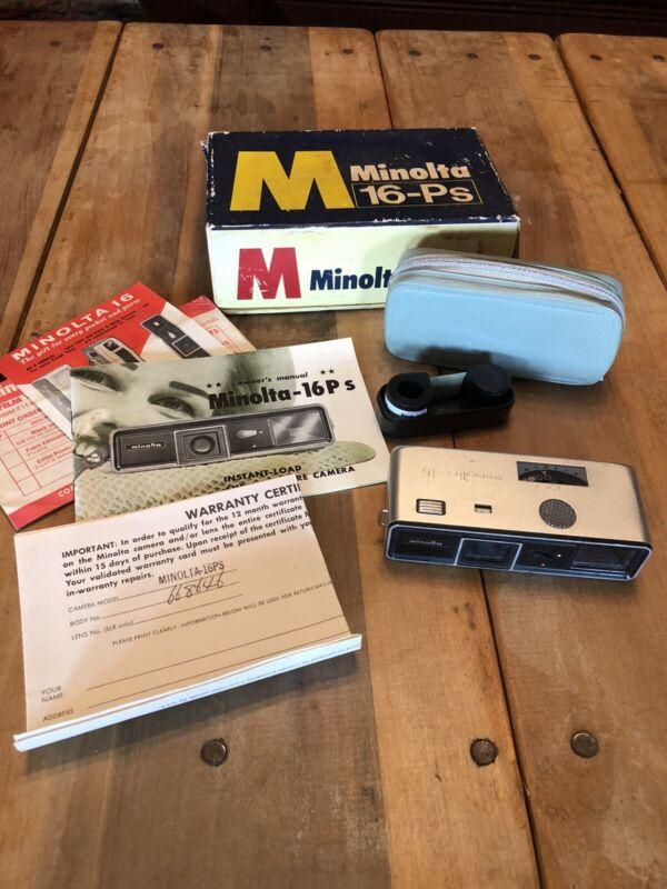 1964 MINOLTA 16Ps Model P Miniature Subminiature Mini Spy CAMERA ROKKOR 3.5 25MM
