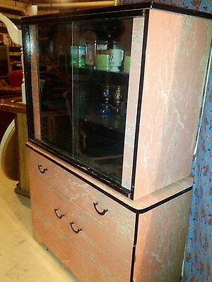 Vintage 50s Pink Black & White Formica Dining,Table.Chairs,Cabinet - 50s Table