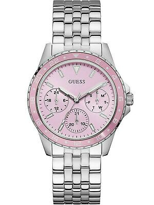 Guess W1187L2 Women's Stainless Steel Multifunction Pink Dial Analog Watch