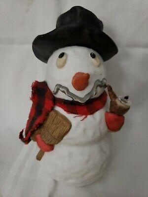 "Vintage~1999~7""x4"" Ceramic~Pipe Smoking Snowman~Lamp Oil Light~JA Bittner (B33)"