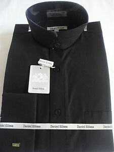 Mens solid black nehru collarless banded collar french for Men s collarless banded collar dress shirt