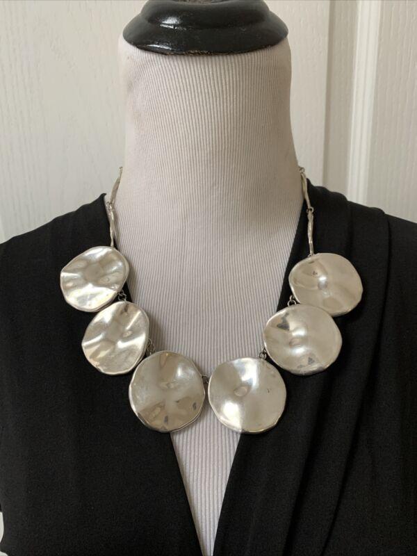 """Vintage Signed Sterling Silver Electroform Modernist Necklace 18"""" Adjustable *1"""
