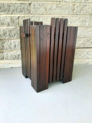 Antique Art Deco Arts & Crafts Handmade Wood Slats Wastebasket w/ 2 Handles