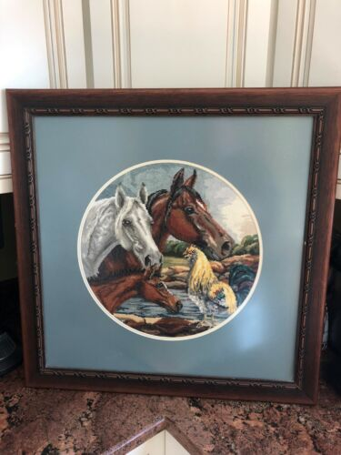 Vintage art hand made needlepoint horses chicken beautifuly framed