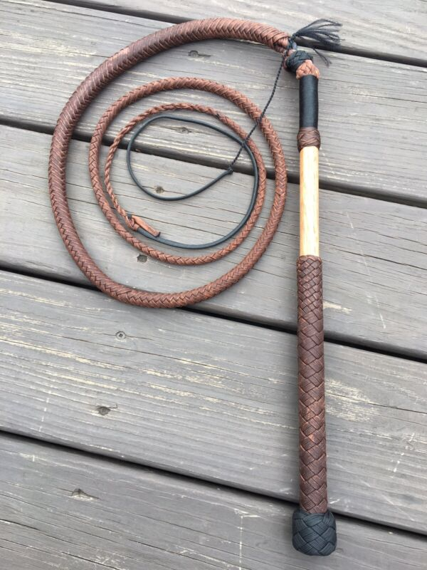 """5 Foot Chocolate Brown Stock Whip 16"""" Handle Waxed 10 Plait Tapered Twist"""
