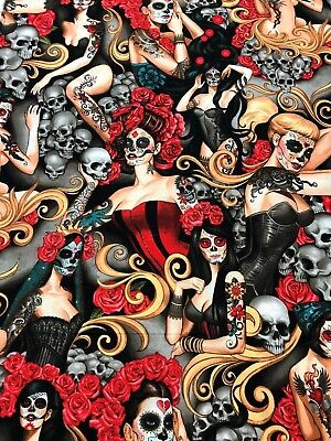 Halloween Pin Up Girl Tattoos (Alexander Henry Gothic Las Elegantes Tattoo Pin Up Girls Day of Dead Fabric)