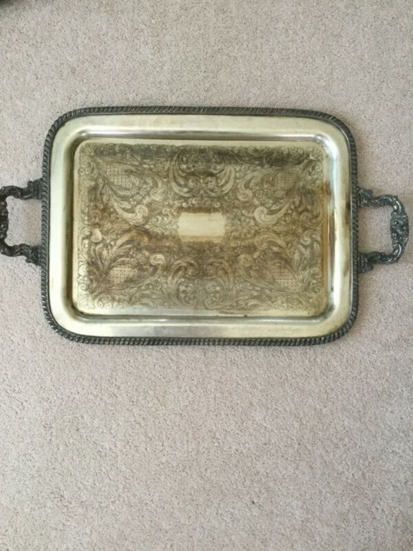 "VTG LARGE SILVER ON COPPER SERVING TRAY 23.5"" X 17.5"" TRULY ELEGANT"