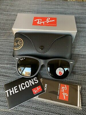 Ray Ban Sunglasses Asian Fit Wayfarer RB 2140 901S Matte Black Polarized (Rays Colored Glasses)