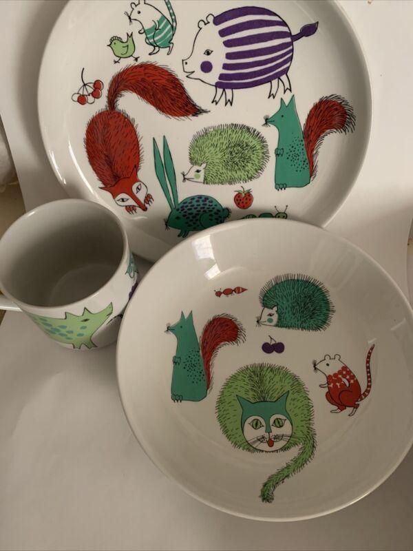 arabia finland vintage Children's 3 Piece Set Bowl Plate And Mug