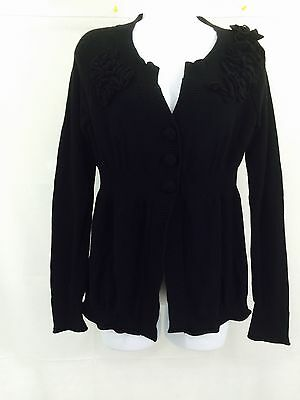 DKNY Jeans Women's Black Flower Detailed Sweater Size M ()