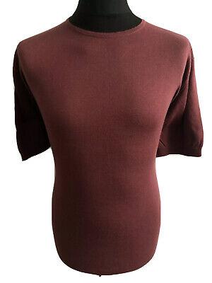 John Smedley Short Sleeve Thin Jumper/Top, Maroon, Size XXLarge, RRP £179