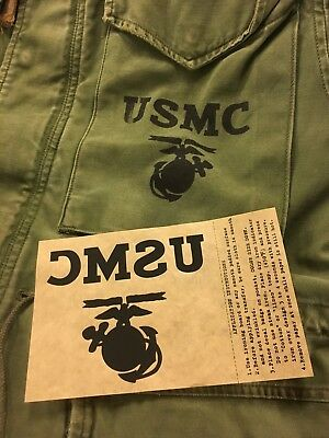 USMC IRON ON DECAL for WW II HBT BDU jacket, M-51 coat
