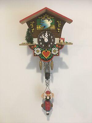 Vintage Miniature GERMAN CUCKOO CLOCK Bouncing Swing Girl (No key)