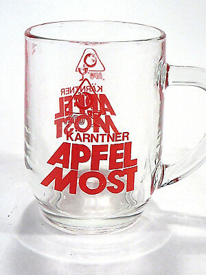 Glass Beer Mug Karntner Apfel Most Apple Barware Etched Red France