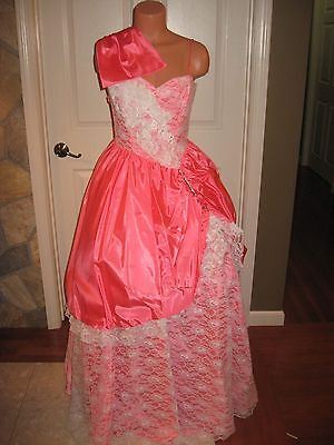 Vintage 1980s Pink White Lace Civil War Southern Belle Prom Reenactment Dress