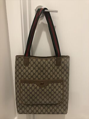 Authentic Vintage GUCCI Brown GG PVC Canvas and Leather Tote Bag Purse #36898