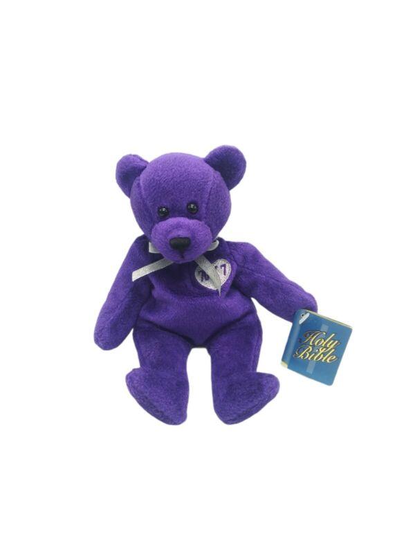 Holy Bears Forgiveness 1999 Purple Bear Plush Beanie From The Heart Series