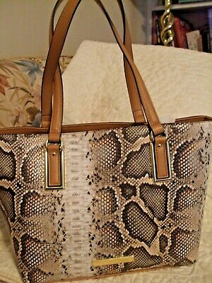 70% OFF NEW WITH TAGS, ANNE KLEIN TOTE HANDBAG, BEIGE, BROWN, REPTILE,