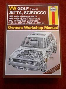 VW GOLF (PETROL) JETTA, SCIROCCO WORKSHOP MANUAL