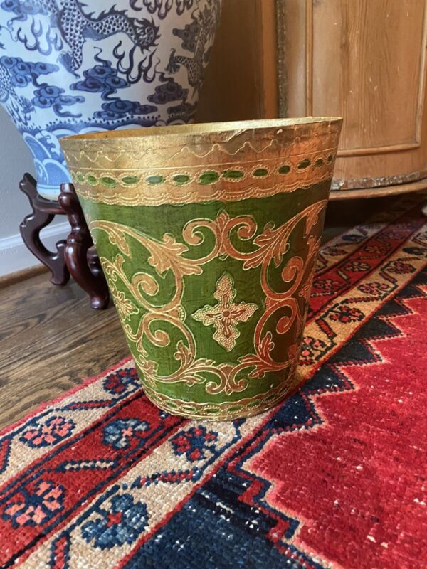 Vintage Tole Florentine Gold & Green Italian Waste Basket Trash Can ITALY