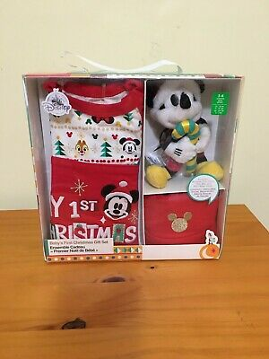 New Disney Store Mickey Mouse My First Christmas Baby Boy Romper Gift Set