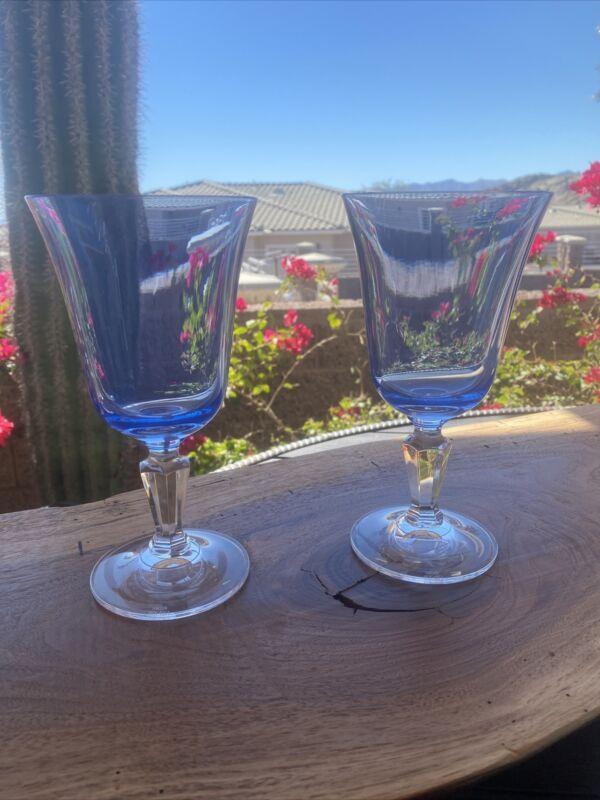 """Alfresco Blue Miller Rogaska 7 1/4"""" Crystal Water Goblets-set of 2 Discontinued"""