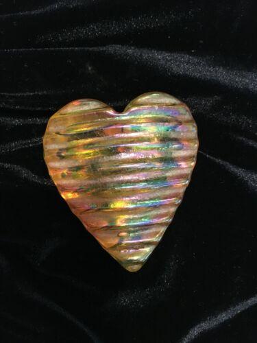 "Vintage ROBERT HELD Art Glass HEART Iridescent Amber Yellow 2.5"" Signed RHAG"