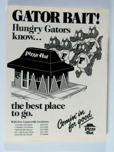 """Florida Hungry Gators Know Pizza Hut Original Regional 1979 Print Ad 8.5 x 11"""""""