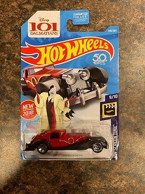 Hot Wheels #343 Cruella De Vil Disney's 101 Dalmatians HW SCREEN TIME #9/10 New - Disney Cruella De Vil