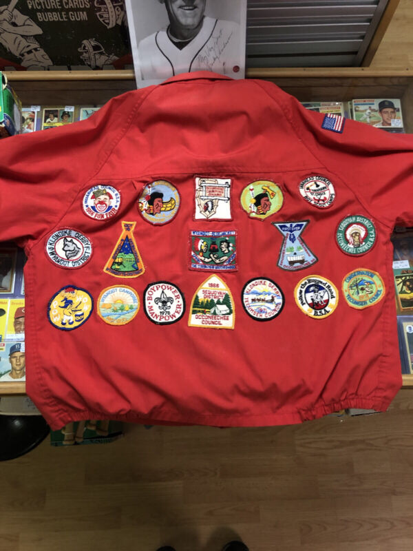 Vintage Boyscout Red Jacket with many patches size 42 or XL