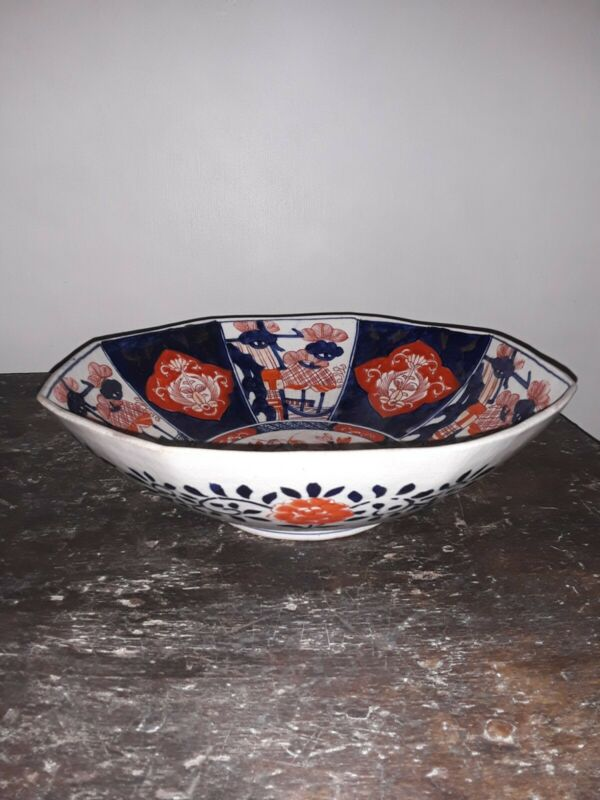 19th Century Meiji Period Large Japanese Imari Handpainted Centerpiece Bowl