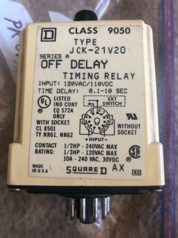 Square D Class 9050 Type JCK21V20 Timing Relay Series A