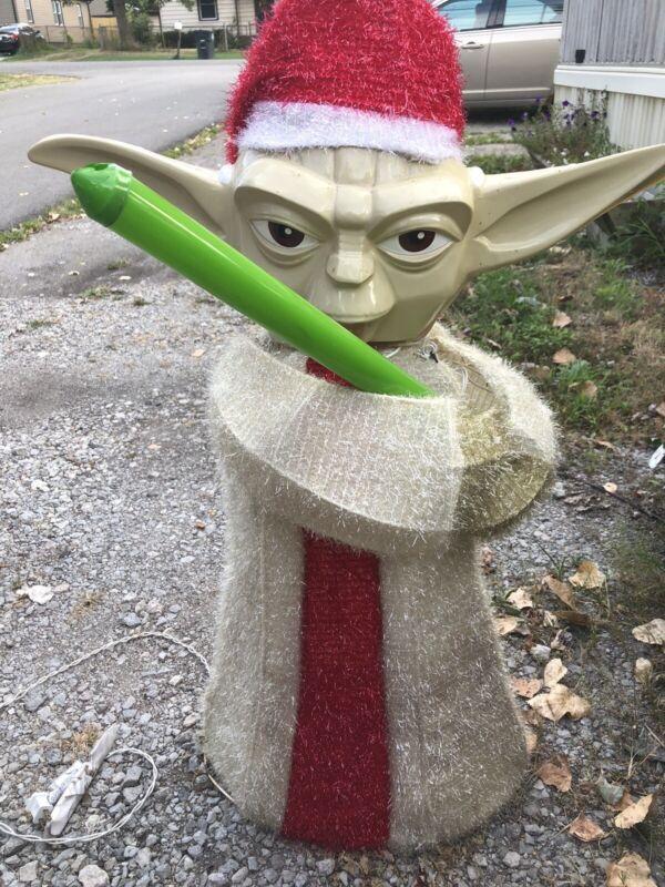 Christmas Star Wars Yoda Tinsil Lawn Decoration Works Lightsaber