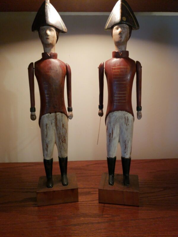 Folk Art Hessian Soldiers Set Of 2