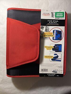 Five Star Zipper Binder 1.5 500 Sheet Zipper Pocket Durable Interior Red