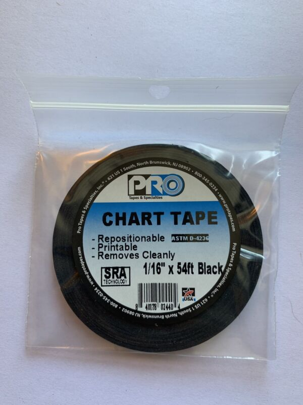Black Chart Tape, Grid Tape, Whiteboard Tape-1/16 In W x 54 Ft L - Free Shipping
