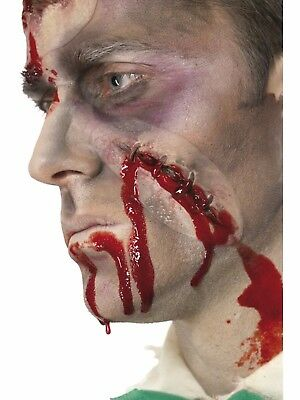 Make Fake Head Halloween (Hole In The Head Halloween Fake Latex Scar Fancy Dress Zombie Special FX Make)