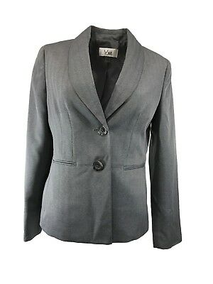 Le Suit Women Blazer Jacket Suit Separate Striped Two Button Torino Gray Size 6