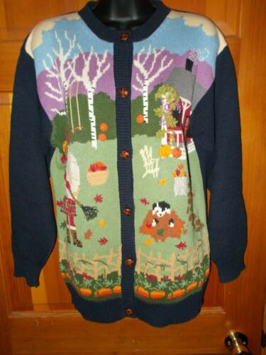 VINTAGE SUSAN BRISTOL THANKSGIVING SWEATER BUTTON UP SIZE S FALL LEAVES