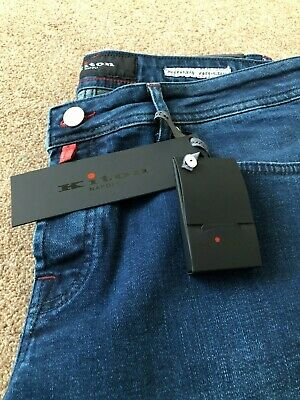 !UK SELLER! BNWT Kiton Napoli Slim Men Navy Denim Jeans Size 34 RRP: £680