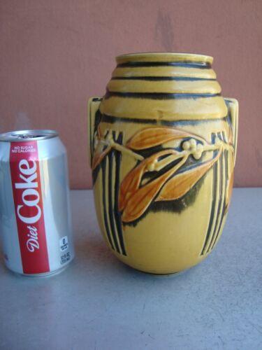 "Roseville Laurel Art Deco Yellow 7"" Vase"