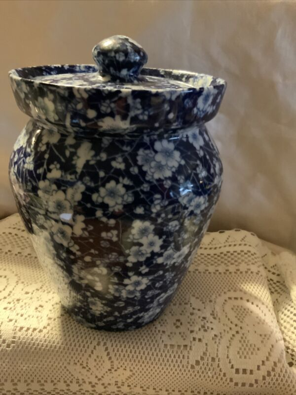 Blue With White Flowers Ceramic Cookie Jar