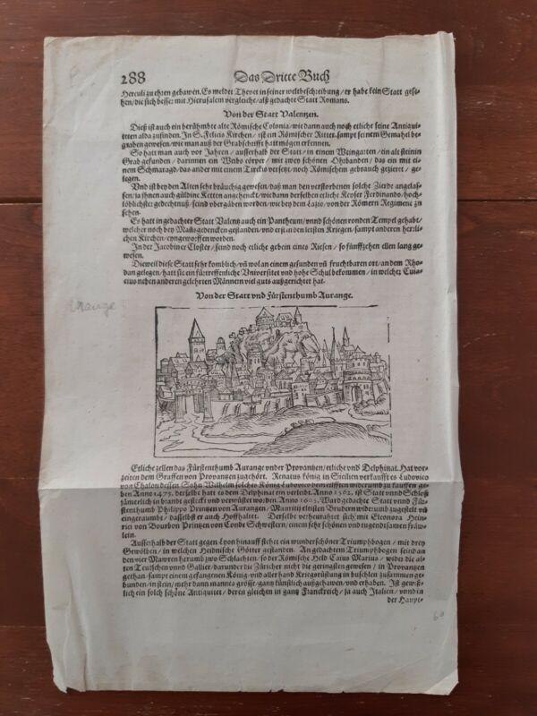 Inkunabel Holzschnitt Stadt Orange zwei Blatten