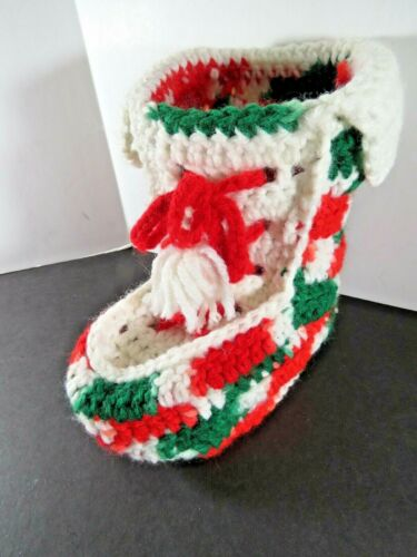 """Vintage Handmade Christmas Crochet Boot Decoration Red White Green 6.5"""" A8949"""